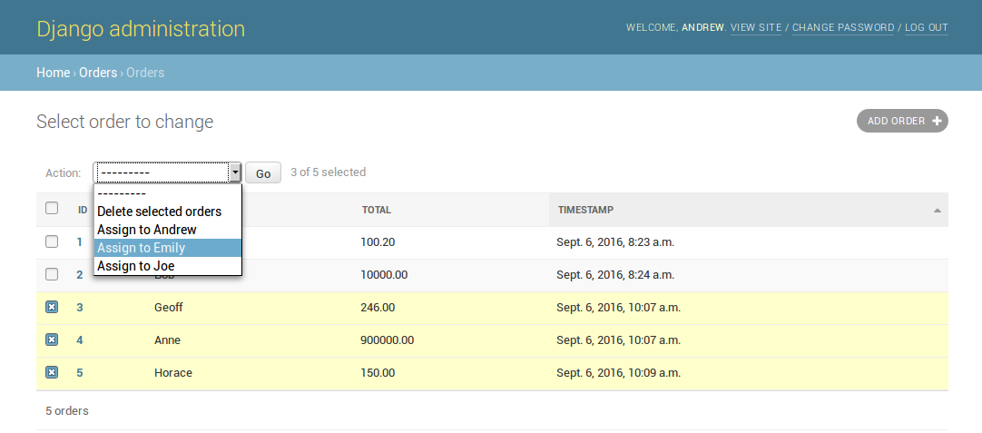 Screen shot of Django admin page with actions dropdown